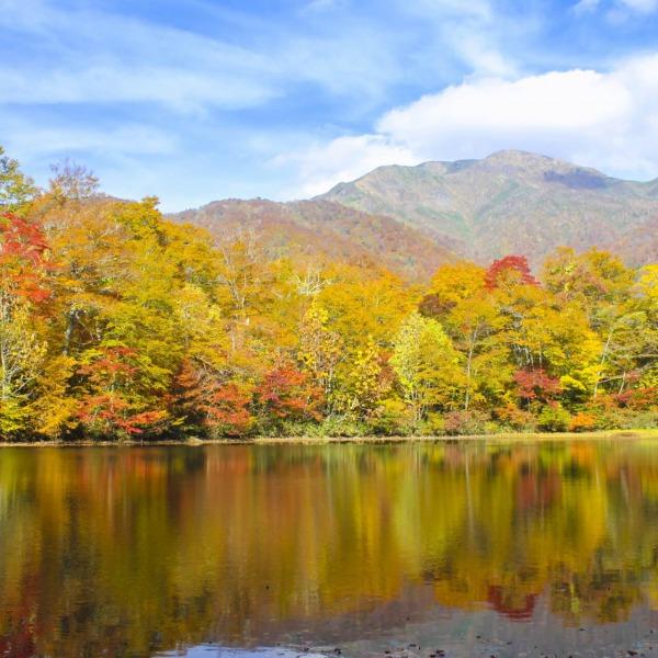 刈込池の紅葉と三ノ峰